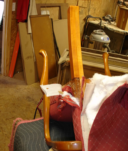 Repair of broken chair leg in process