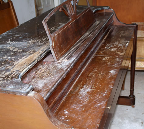 Piano Before Refinished by Kim's Wood Specialties