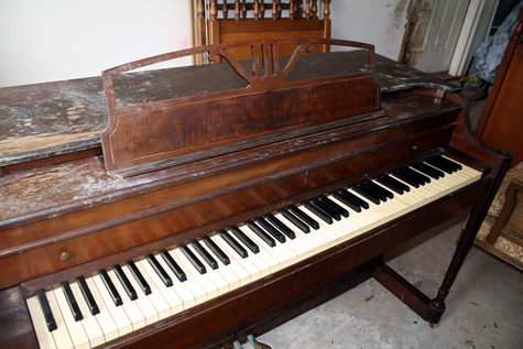 Piano Before Refnished by Kim's Wood Specialties